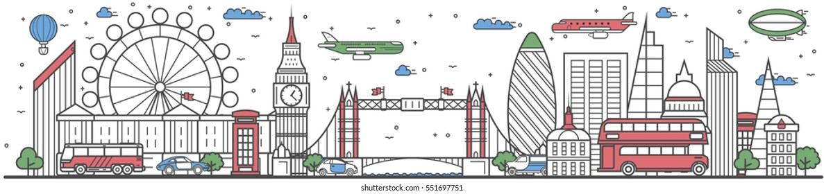 Travel London landmark banner vector illustration. World tour in London travel concept with famous modern and ancient architectural attractions. Must see London landmark panorama, tourist travel ad