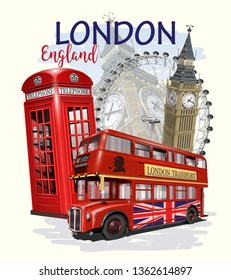 Travel London poster with Big Ben, bus and red phone booth.
