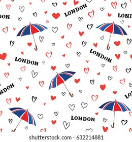 Travel London seamless pattern with love hearts and umbrella. British fashion wallpaper.European vacation background