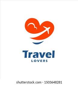 Travel Lovers Logo Love Heart Air Plane Cloud Symbol
