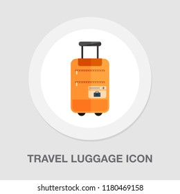 travel luggage icon - travel suitcase - vector bag or baggage - tourism and vacation icon