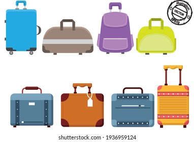 Travel luggage set. Travel suitcase set. Vector bag or baggage. Tourism and vacation. Vector illustration eps10.