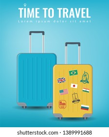 Travel luggage set. Travel and Tourism concept. Flat design. Vector illustration