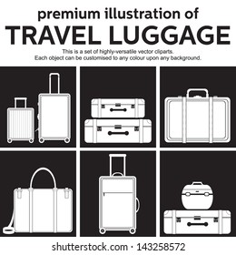 travel luggage vector set