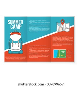 Travel Map with backpack.  Flyer promo print concept