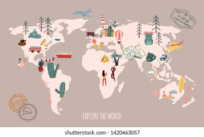 Travel map. Explore the world. Doodle hand drawn style illustration. Stock vector