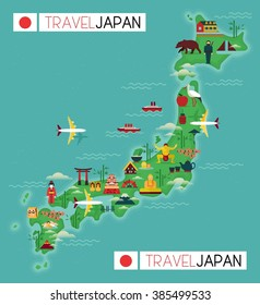 Japan Travel Map Famous Landmarks Flat Stock Vector (Royalty Free ...