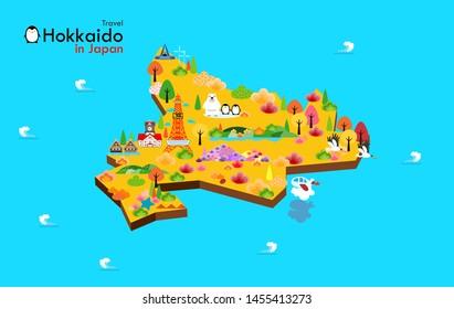 ็Hokkaido travel map in Japan  landmark. Attractions Hokkaido , travel poster with map - travel to Japan, vector illustration