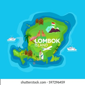 Travel map of Lombok Island at Indonesia  vector illustration