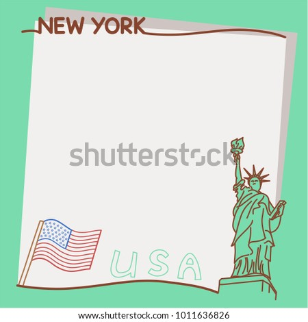 Travel Memo Frame Statue Liberty Drawing Stock Vector Royalty Free