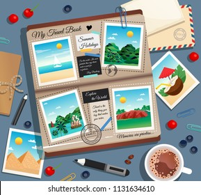 Travel memories abstract background with photographs photo album postal envelope and cup of coffee cartoon vector illustration