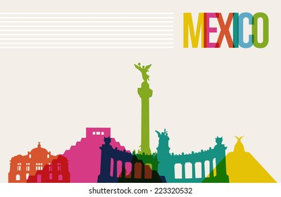 Travel Mexico famous landmarks skyline multicolored design background. Transparency vector organized in layers for easy create your own website, brochure or marketing campaign.