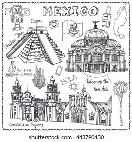 Travel Mexico famous landmarks.Vector Hand drawn doodle Doodle sketchy. Vintage historic Linear design background. Pyramid,architectural landmarks.Lettring in Spanish hurrah.Retro Illustration.