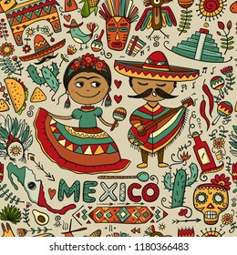 Travel to Mexico. Seamless pattern for your design
