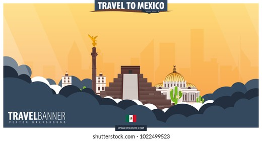 Travel to Mexico. Travel and Tourism poster. Vector flat illustration