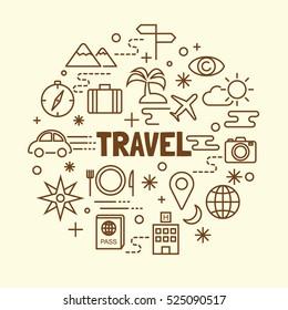 travel minimal thin line icons set, vector illustration design elements