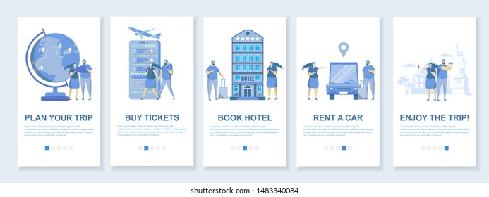 Travel mobile app onboarding screens. Menu banner vector template for website and application development. Tour planning, hotel and flight booking, car rental.