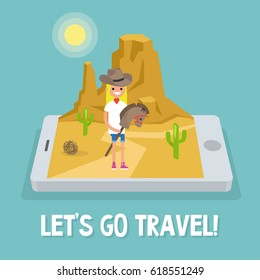Travel mobile application. Wild west conceptual illustration. Young girl wearing a cowboy hat and riding a hobbyhorse / flat editable vector illustration