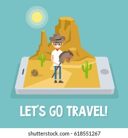 Travel mobile application. Wild west conceptual illustration. Young nerd wearing a cowboy hat and riding a hobbyhorse / flat editable vector illustration