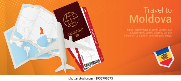 Travel to Moldova pop-under banner. Trip banner with passport, tickets, airplane, boarding pass, map and flag of Moldova. Vector template.