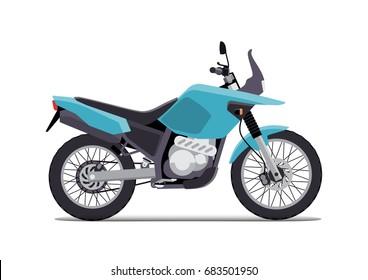 travel motorcycle off road, concept, active lifestyle, enduro. Flat vector illustration. Isolation on white background