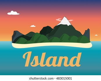 Travel mountains sunset island landscape color flat vector icon
