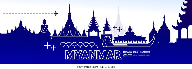 Travel To Myanmar vector illustration.