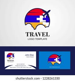 Travel Nagorno Karabakh Republic Flag Logo and Visiting Card Design