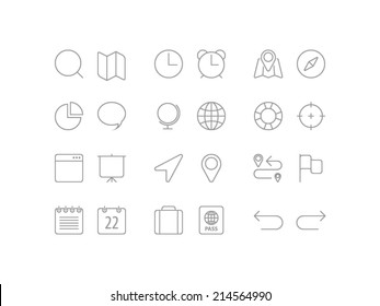 Travel, navigation and date icons set in line style