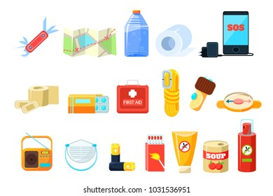 Travel necessities sett, first aid kit, rope, compass, map, phone, bottle of water, battery, radio, box of matches, repellent, canned food vector Illustrations on a white background