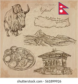 Travel, NEPAL. Pictures of Life. An vector hand drawn collection. Line art technique.