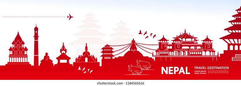 Travel To Nepal vector illustration.