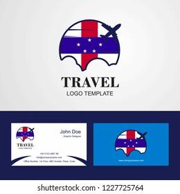Travel Netherlands Antilles Flag Logo and Visiting Card Design