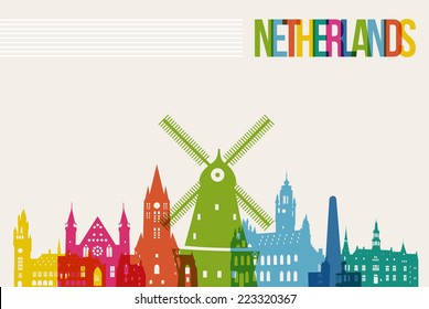 Travel Netherlands famous landmarks skyline multicolored design background. Transparency vector organized in layers for easy create your own website, brochure or marketing campaign.