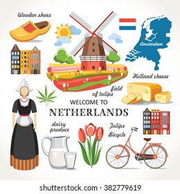 travel Netherlands vector set