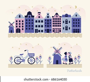 Travel Netherlands - Vector set of traditional dutch elements / symbols in modern flat illustration style.
