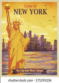 Travel to New York Poster - Vintage-style advertisement with city and Statue of Liberty against the sunny sky; hand drawn vector illustration