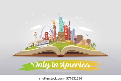 Travel to North America. Road trip. Tourism. Open book with landmarks. North America Travel Guide. Summer vacation. Travelling vector illustration. Only in America. Modern flat design. EPS 10. #8