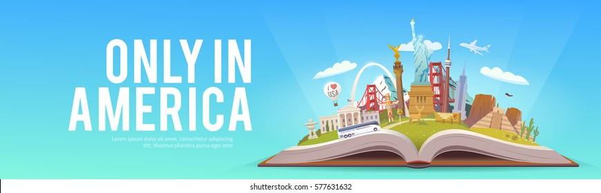 Travel to North America. Road trip. Tourism. Open book with landmarks. North America Travel Guide. Summer vacation. Travelling vector banner. Only in America. Modern flat design. EPS 10. #7