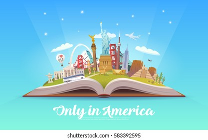 Travel to North America. Road trip. Tourism. Open book with landmarks. North America Travel Guide. Summer vacation. Travelling vector illustration. Only in America. Modern flat design. EPS 10. #5