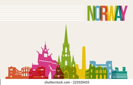 Travel Norway famous landmarks skyline multicolored design background. Transparency vector organized in layers for easy create your own website, brochure or marketing campaign.