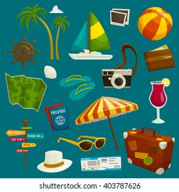 Travel object set, cartoon vector illustration, summer vacation, luggage camera clothes and tourist stuff