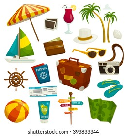 Travel object set isolated on white, cartoon vector illustration, summer vacation