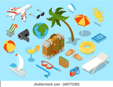 Travel objects icon set flat 3d isomectric modern design template. Airplane sunglasses palm umbrella passport suitcase ball beach chair wallet slippers cocktail yacht diving mask tube sun collection.