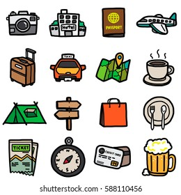 travel objects, icons set / cartoon vector and illustration, hand drawn style, isolated on white background.