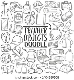 Travel Objects. Tourism Set Luggage. Traditional Doodle Icons Sketch Hand Made Design Vector.
