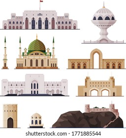 Travel to Oman, Muscat City Historical Building Collection, Famous Landmarks Flat Vector Illustration
