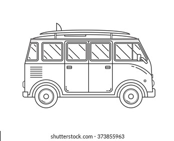 Travel omnibus family camper thin line. Traveler truck tourist bus outline icon. RV travel surfing bus black and white vector pictogram isolated on white.