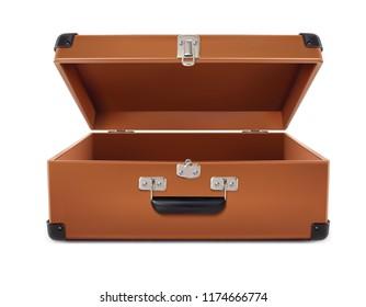 Travel. Open Suitcase. 3d vector illustration