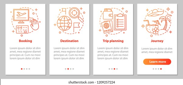 Travel organization onboarding mobile app page screen with linear concepts. Trip planning steps graphic instructions. UX, UI, GUI vector template with illustrations